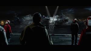 Fotograma de Godzilla (2014). La criatura se acerca.